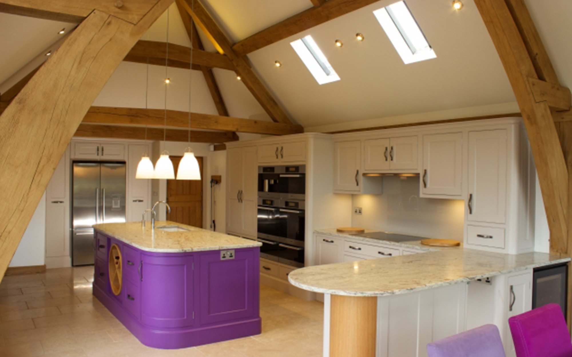 Luxury Bespoke Kitchen in New Oak Barn - Bourne's Fine Furniture