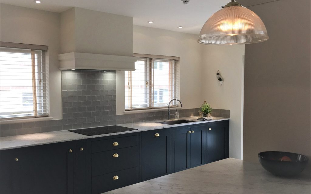 Bespoke Kitchen with Black Cabinets and Gold Handles - Bourne's Fine Furniture