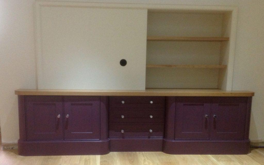 Bespoke Aubergine TV and Storage Unit - Bourne's Fine Furniture