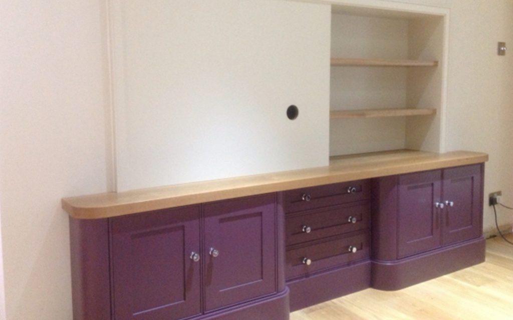 Bespoke Aubergine TV and Storage Unit - Bourne's Fine Furniture