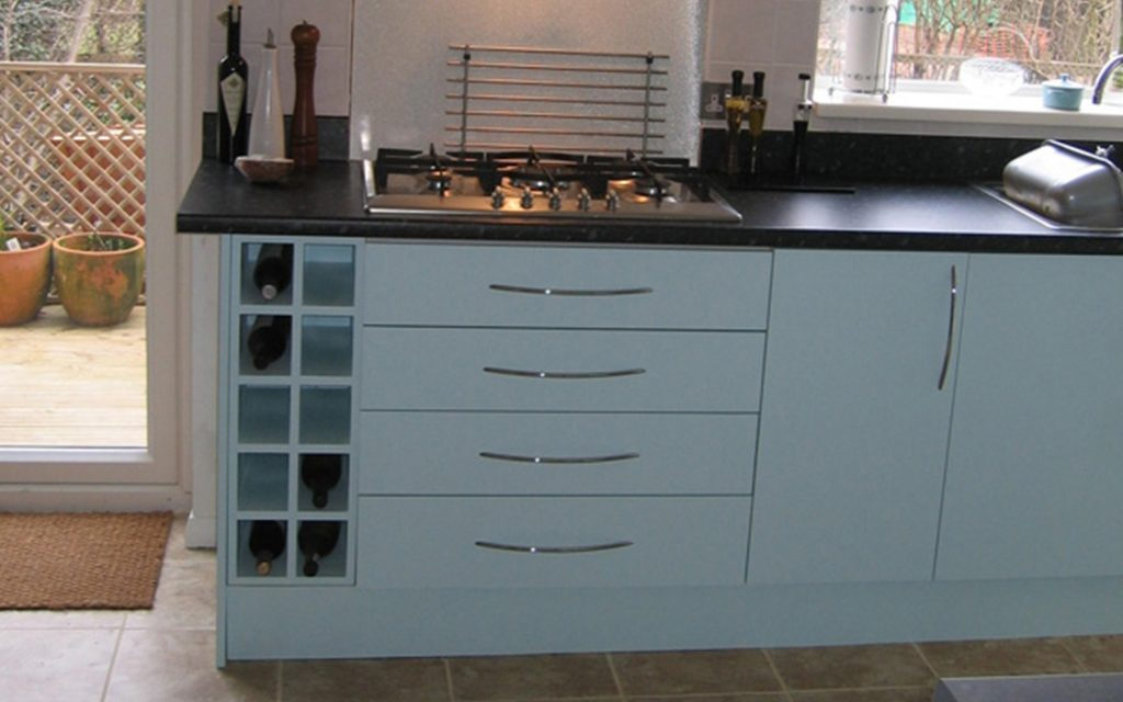 Blue Spray Painted Fitted Kitchen - Bourne's Fine Furniture