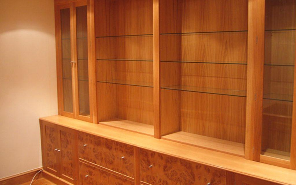 Bur Oak Office Furniture with Glass Shelving - Bourne's Fine Furniture