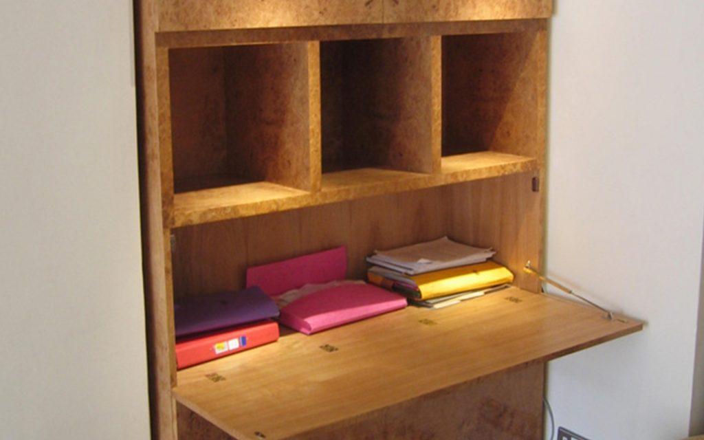 Bur Oak Secretaire with Pigeon Holes - Bourne's Fine Furniture