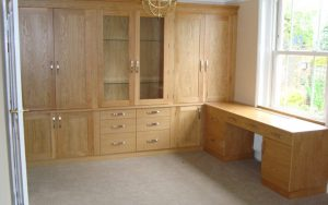 Integrated Wooden Corner Desk and Bookcase - Bourne's Fine Furniture