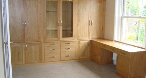 Integrated Wooden Corner Desk and Bookcase - Bourne's Fine Furniture