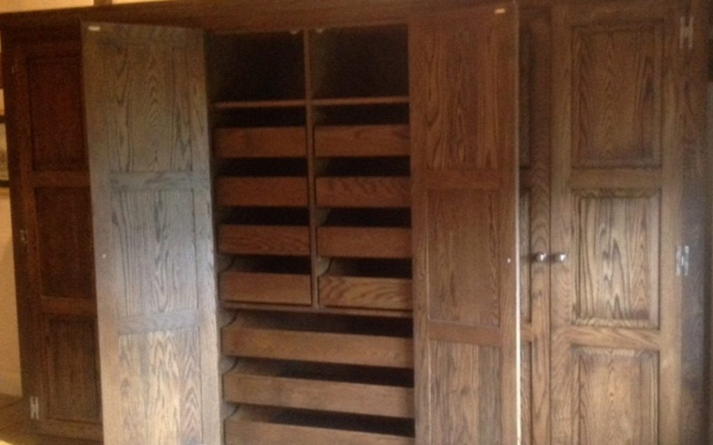Jacobean Oak Wardrobes interior - Bourne's Fine Furniture