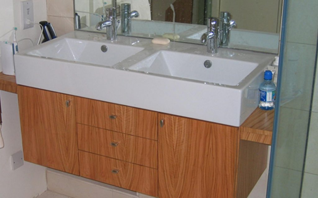 Olive Veneer Bathroom Cabinet - Bourne's Fine Furniture
