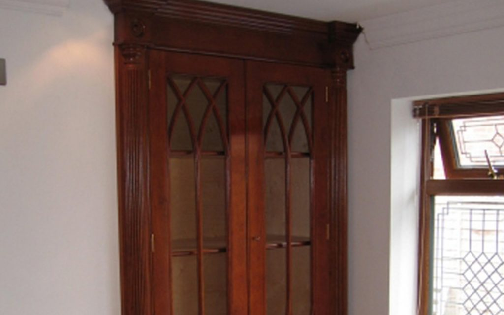 Solid Cherry Wardrobe with Glass Panels - Bourne's Fine Furniture
