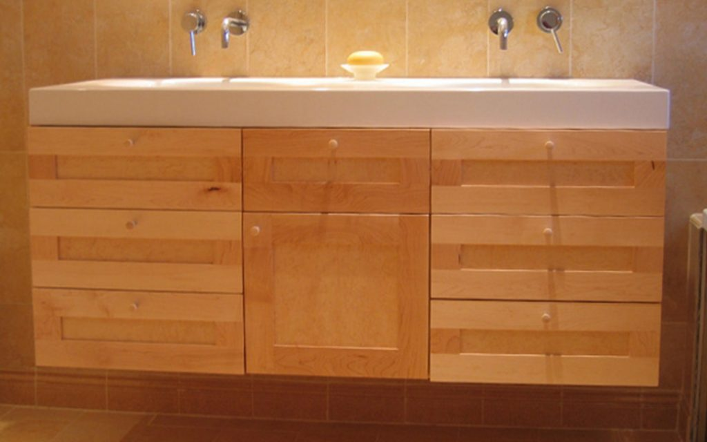 Solid Maple Bathroom Cabinet - Bourne's Fine Furniture
