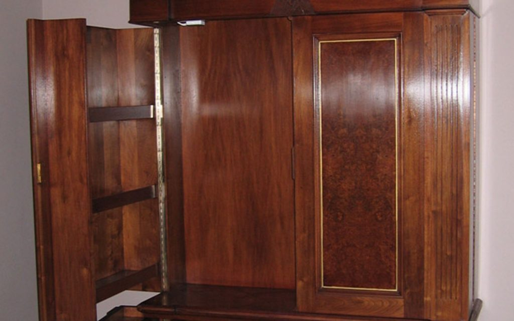 Handmade Walnut Cabinet interior - Bourne's Fine Furniture