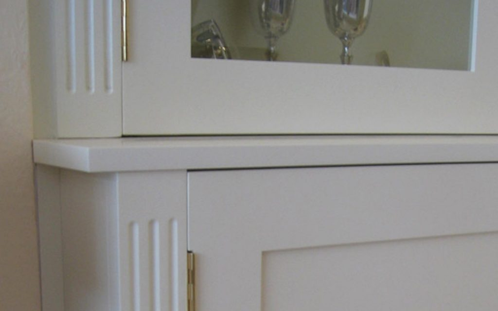 White Display Cabinets detailing - Bourne's Fine Furniture