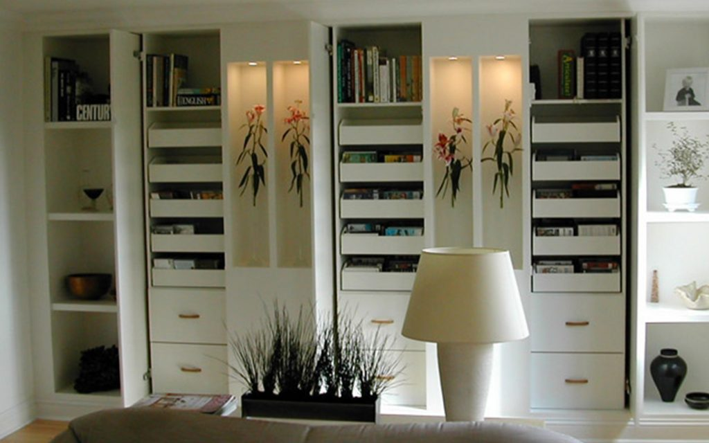 Handmade White Storage Unit with Drawers, Shelves and Display - Bourne's Fine Furniture