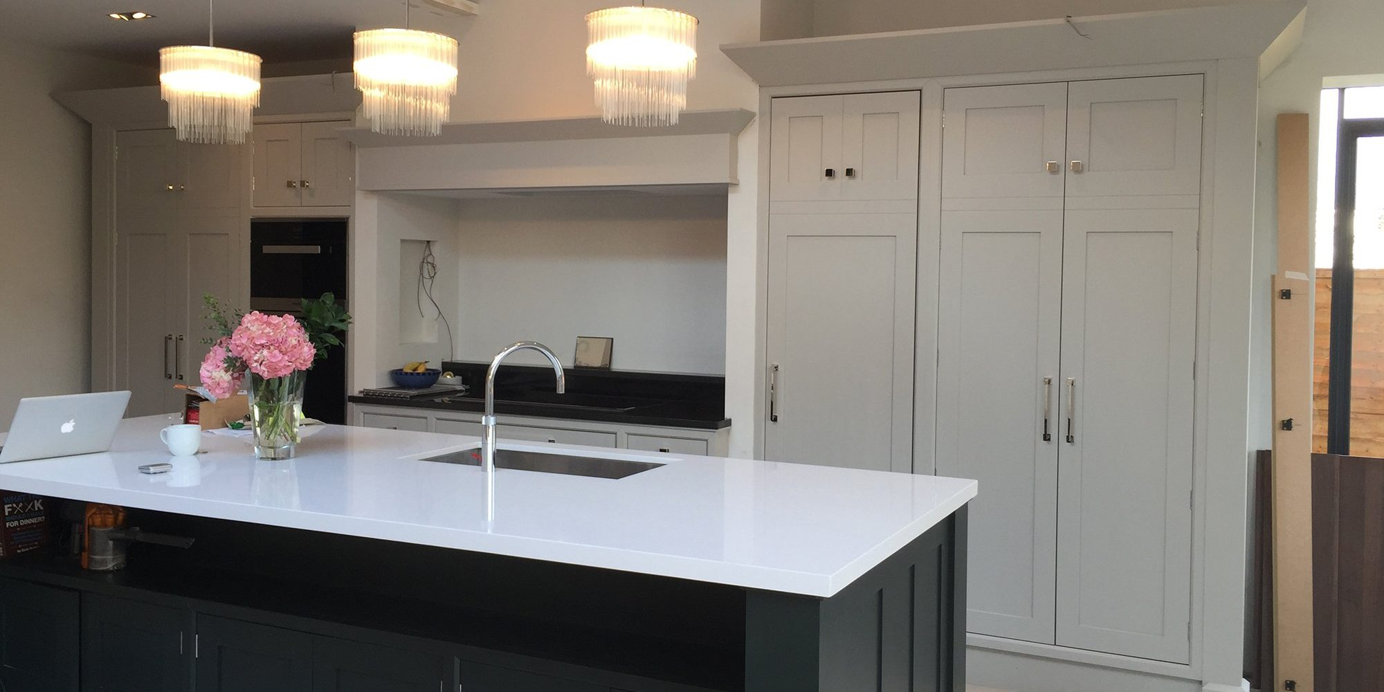 Bespoke Kitchen with Black and Grey Cabinets - Bourne's Fine Furniture Sussex